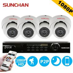 226.24$  Watch here - http://aliafg.shopchina.info/1/go.php?t=32478878075 - SUNCHAN 4CH 1080P 2.0MP DVR Kits AHD-H 4*1080P Indoor Dome Night Vision CCTV Home Security Camera Surveillance System  #shopstyle