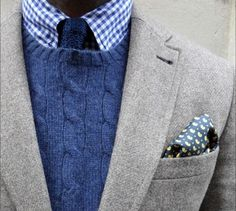Great blazer + sweater + tie combo