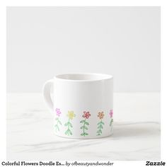 Colorful Flowers Doodle Espresso Mug - drawing sketch design graphic draw personalize Floral Flowers, Colorful Flowers, Mug Drawing, Mug Decorating, Extra Large Coffee Mugs, Design Art, Sketch Design, Flower Doodles, Home Living