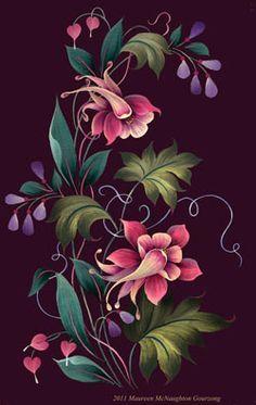 Arist Maureen McNaughton | Maureen McNaughton Folk Art Flowers, Flower Art, Tole Painting, Fabric Painting, Painting On Wood, Types Of Painting, Easy Paintings, Watercolor Paintings, Crafts Beautiful