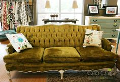 Eco Chic Boutique | Green Velvet Vintage Sofa.  love the dresser in the back