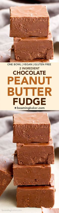 2 Ingredient Vegan Chocolate Peanut Butter Freezer Fudge (V, GF, DF): a super easy recipe for thick, decadent chocolate peanut butter fudge. #Vegan #GlutenFree #DairyFree | http://BeamingBaker.com