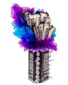 Birthday Candy, Diy Birthday, Birthday Bouquet, Birthday Ideas, Birthday Gifts, Candy Gift Baskets, Candy Gifts, Hershey Chocolate, Chocolate Gifts