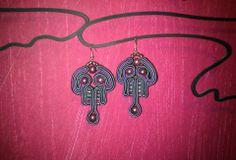 grey and purple soutache earrings