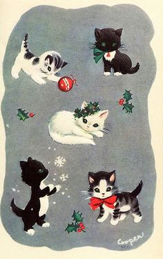 Get in the Christmas spirit with these retro greeting cards — complete with puppies and kittens Vintage Christmas Images, Retro Christmas, Vintage Holiday, Christmas Cats, Christmas Mantles, Silver Christmas, Victorian Christmas, Christmas Fashion, Christmas Trees