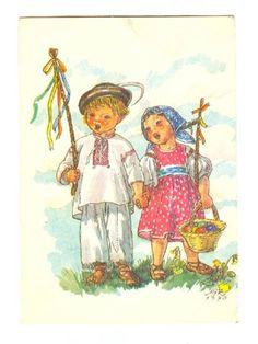 Postcard: M. Vintage Cards, Vintage Images, Illustrator, Egg Designs, Easter Activities, Believe In God, Baby Art, Vintage Easter, My Heritage
