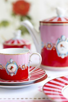 From  PIP studio ~ by Dutch product designer, Catharina ... her designs (stationery, tea sets, linens, etc. ) have lots of pinks, powder blues & reds ... and are wonderfully feminine with whimsy & charm.
