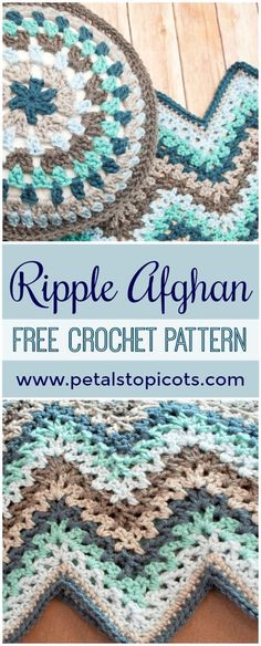 Ripple Afghan Crochet Pattern - It's afghan season so get stitchin' on something cozy for on those chilly Autumn evenings . here's a contemporary twist on an old classic ripple afghan pattern. Crochet afghan V-Stitch Ripple Afghan - Free Crochet Pattern Crochet Afghans, Crochet Ripple Afghan, Afghan Crochet Patterns, Crochet Blankets, Baby Afghans, Crochet Cushions, Crochet Blocks, Crochet Pillow, Crochet Granny