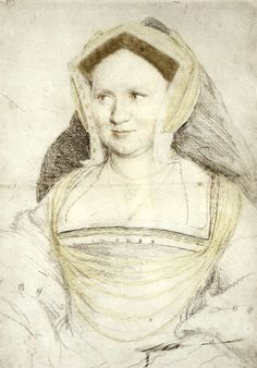 Hans Holbein the Younger ~ Portrait of Lady Mary Guildford, 1527 (chalk)