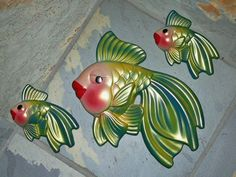 Vintage 1971 Miller Studio Chalkware Fish Mama Wall Hanger with 2 Babies