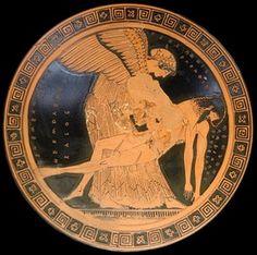 Copa con Eos portando el cadáver de su hijo Memnón, h 490-480 aC, Louvre
