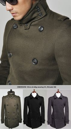 Outerwear :: Coats :: European Military High-neck Peacoat-Coat 26 - Mens Fashion Clothing For An Attractive Guy Look