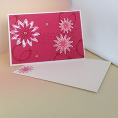 Note card using Stampin'Up! Melon Mambo Cardstock and Ink, Blossom Bunch Punch and Timeless Textures Stampset.