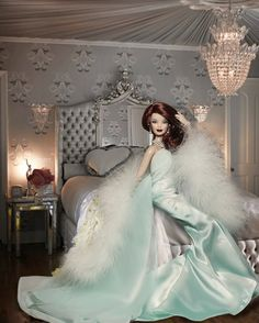 Elegant Lingerie in Seafoam for Barbie in Bedroom w/ Crystal Chandelier.I had a retro Barbie with a pink dress and fur wrap. fake pearls wow this takes me back Barbie Style, Barbie I, Barbie World, Barbie Dress, Barbie And Ken, Barbie Clothes, Doll Dresses, Barbie House, Pink Dress