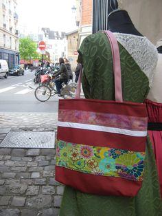 Sac Ruban carré porté épaule brique et vert à fleur par FeeHome, Etsy, €49,00