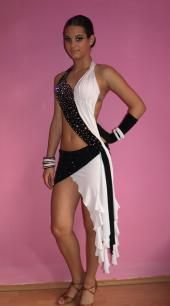 black and White latin dance costume