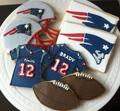 New England Patriots Football Decorated Cookies- jersey, helmet, football, team…