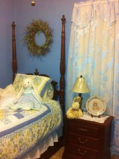 Country blue guest bedroom at my sisters