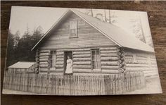 1907 Log Cabin Post Card with Women in Doorway by BareNakedVintage