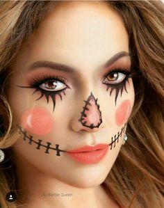 Ehrfürchtiges Halloween-Make-up - Halloween Scarecrow Halloween Makeup, Halloween Costumes Scarecrow, Pretty Halloween, Halloween Makeup Looks, Easy Halloween, Diy Halloween Face Paint, Scarecrow Face Paint, Cute Toddler Halloween Costumes, Scary Scarecrow