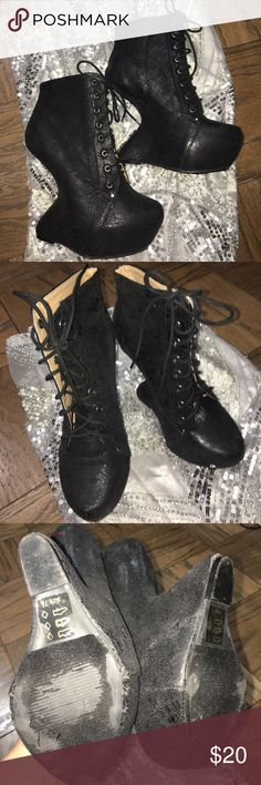 7.5 women's club heel black lady Gaga Interesting lady Gaga cline heels size 7.5 worn once as hooves in a pony costume. Really secure and strong sole to distribute weight so that they can be worn easily and comfortably. Lace up. Show Republic LA Shoes Ankle Boots & Booties