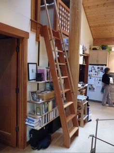 ships ladder for loft. I like the way the railing goes higher than the ladder for ease of getting off and on the ladder.