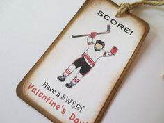 Hockey Valentine Card Tag Favor by designsmartstudios on Etsy, $5.50