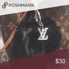 2 Pom Pom LV Keychains ❗️BUNDLE❗️ 2 fur Pom Poms with LV Logo keychain Louis Vuitton Accessories Key & Card Holders