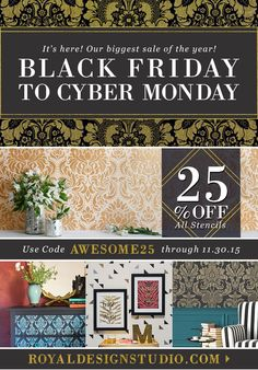 Black Friday STENCIL SALE! Biggest stencil sale of the year! 25% off all stencils with code AWESOME25 http://www.royaldesignstudio.com/