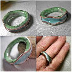 Enamel anticlastic ring by Paula Ellis Ceramic Jewelry, Enamel Jewelry, Ceramic Beads, Copper Jewelry, Polymer Clay Jewelry, Jewelry Crafts, Jewelry Art, Unique Jewelry, Handmade Jewelry