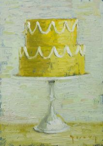 Artist Paul Ferney -- Image of Yellow Wedding; one of an appealing series of paintings of cakes.  I love them.
