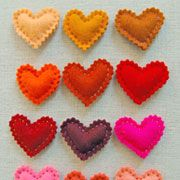 Felt Heart Pins.  Could also frame them for a wall hanging.