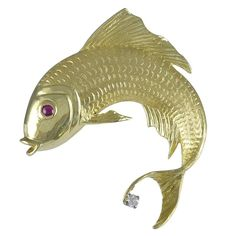 Gemset Gold Fish Brooch by Cellino   From a unique collection of vintage brooches at https://www.1stdibs.com/jewelry/brooches/brooches/