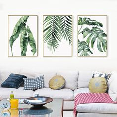 rend Watercolor Banana, Palm & Monstera Leaf Canvas Print, Wall Art, Poster, Airbnb Home Decor. Sofa / Cafe / Office / Hotel Painting, Housewarming Gift. 3pcs. Unframed.