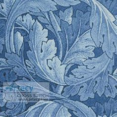 Artecy Cross Stitch. Blue Acanthus Cross Stitch Pattern to print online.