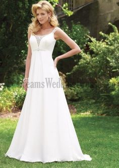 Vogue Wedding Gowns For Ladies Beading Ruffles Court Train Hall Church Classic And Timeless Satin Chiffon For Cheap Wedding Dresses.  Like this.