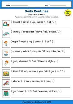 English Activities For Kids, English Grammar For Kids, English Worksheets For Kindergarten, Learning English For Kids, Teaching English Grammar, English Worksheets For Kids, English Lessons For Kids, English Writing Skills, English Vocabulary Words