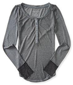 Aeropostale Women's Long Sleeve Waffle Henley Shirt