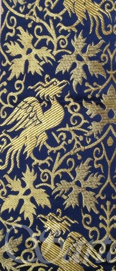"Brocade Phoenix 14th century - Sartor       warp: silk / weft: rayon     Pattern repeat : 18 cm     Width : 30"" $ 34.05 / m"
