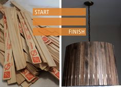 Paint Stick Pendant Lamp DIY//never thought of using paint sticks for small scale wood crafts...