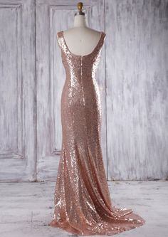2016 Rose Gold Bridesmaid Dress with Train Luxury by RenzRags