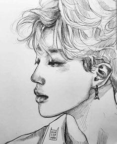 Jimin Fanart, Kpop Fanart, Fan Art Sherlock, Kpop Drawings, Jikook, Drawing Sketches, Sketch Ink, Art Inspo, Art Reference