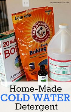 Home-Made Cold Water Detergent. Save yourself some cash on your gas bill by not having to heat the water to wash your clothes. This recipe takes less than 5 minutes to make and works for both clothing and dishes.