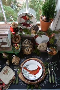 Woodland Tablescape with birds in the Potting Shed with bird ornaments, birdhouses and winter fauna plates | homeiswheretheboatis.net