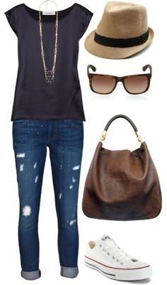 Fall outfit - black shirt, jeans, fedora hat, brown purse, tennis shoes