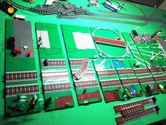 Lego Train Tracks, Lego City Train, Lego Track, Lego Plane, Lego Boards, Lego Projects, Train Layouts, Cool Lego, Lego Building