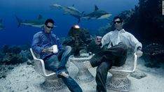 See those sharks swimming in the backgroud? Yep, they are real. The casually dressed men sipping coffee underwater? Real too. Welcome to the remarkable real life water world.