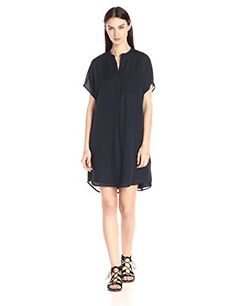 Vince Women's Double Georgette Dress  Feminine in fluid silk and effortless in the relaxed fit of the iconic Vince. Popover silhouette, this flattering dress is incredibly versatile. A subtle knife pleat under the deep v neckline creates easy movement. This dress goes to work with a blazer and out to dinner with a light sweater or leather jacket. Sheer body is lined Sheer body is lined Cap sleeve with easy sleeve opening Sheer body is lined Sheer body is lined Cap sleeve with easy sl..