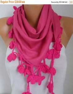 Hot Pink Pashmina Scarf Mother's Day Gift Spring by fatwoman
