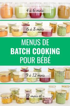 Batch cooking menus for babies - Weekly baby menus: in 1 batch cooking session, we cook all the small pots for the week (Monday to F - Baby Food Recipes 9 12, Cooking Recipes, Baby Led Weaning, Baby Cooking, Cooking Kids, Get Baby, Baby Baby, Vegetable Puree, Homemade Baby Foods